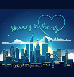 modern cityscape in the morning morning in big vector image