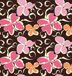 Seamless abstract flower pattern vector