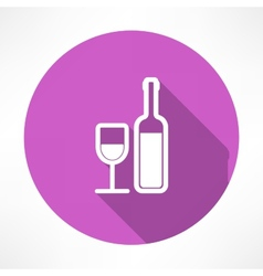 Wine bottle and a glass icon vector image