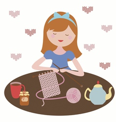 Tea and knit vector