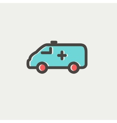 Ambulance car thin line icon vector image