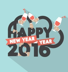Happy new year 2016 typography design illus vector