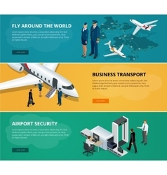 Airport web banner set concept of international vector