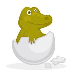 baby crocodile inside cracked egg shell isolated vector image vector image