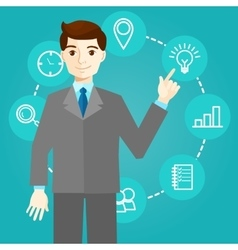 Businessman works with icons and new technologies vector image