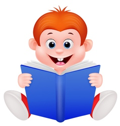 Cartoon boy reading a book vector image vector image