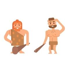 Caveman primitive stone age people vector image vector image