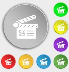 Cinema movie icon sign symbol on eight flat vector