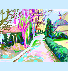 Digital painting of rural landscape contemporary vector