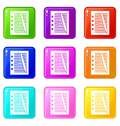Document with plan and pen set 9 vector