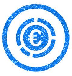 Euro financial diagram rounded icon rubber stamp vector
