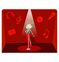 Female singer in red background vector image vector image