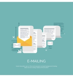 Flat emailing background vector image