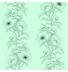 Floral seamless pattern with peonies on green vector image vector image
