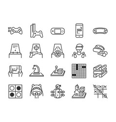 game and entertainment line icon set vector image
