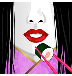 geisha eating sushi vector image