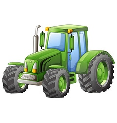 Green tractor with big wheels vector