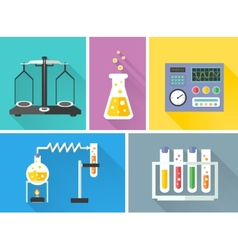 Laboratory equipment decorative icons set vector image vector image