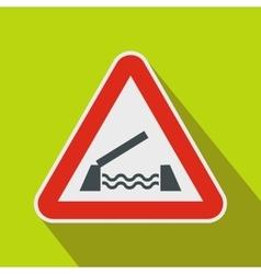 Lifting bridge warning sign icon flat style vector image vector image