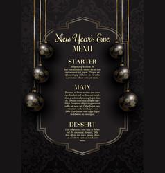 Luxurious elegant new years eve menu design vector