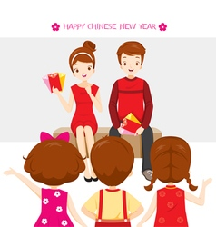 Parent giving red envelopes to children vector