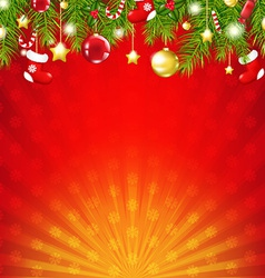 Red Christmas Sunburst Card vector image vector image