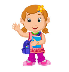 school girl cartoon walking vector image