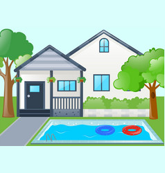 Single house with swimming pool vector