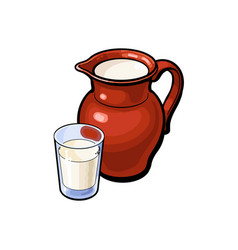 sketch glass of milk ceramic jug crock vector image vector image