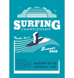 Surfing championship poster vector image vector image