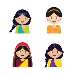 The face an indian girls in vector