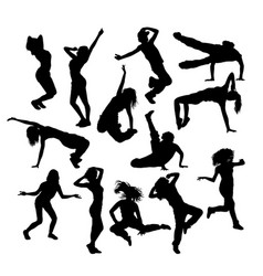 various styles of hip hop dancer silhouette vector image vector image