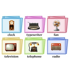 Vintage objects on flashcards vector