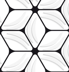 White banana shapes and black hexagon net seamless vector image vector image