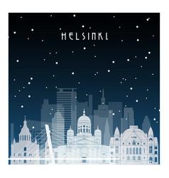 winter night in helsinki night city in flat style vector image vector image