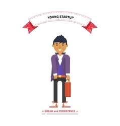 Young man startup dream and persistence vector