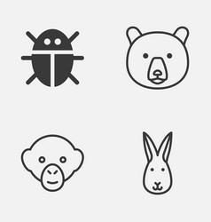 Zoo icons set collection of beetle baboon bunny vector