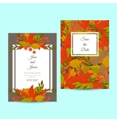 Design layout invitation of autumn leaves vector