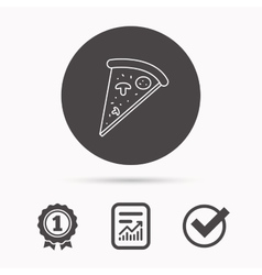 Pizza icon piece of italian bake sign vector