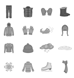 Winter clothes icons set black monochrome style vector