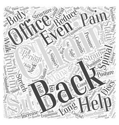 Reduce back pain with office chairs word cloud vector