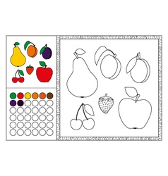 Fruit coloring book page template vector