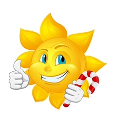 Cartoon sun with lollipop vector