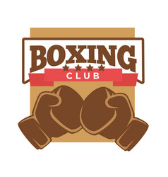 Boxing club logo label with two brown gloves vector