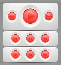 Player red buttons set vector