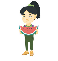 young asian girl eating delicious watermelon vector image