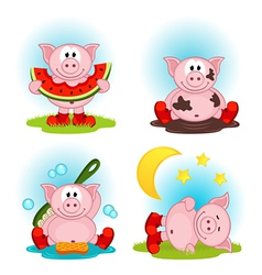 Pig in action vector