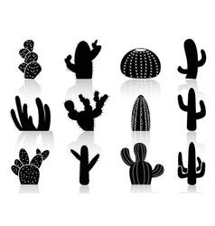 Cactus silhouettes vector