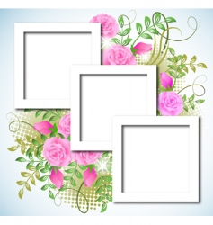 design photo frames with roses vector image