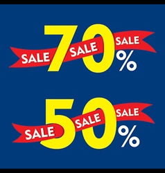 50 and 70 percentage discount sale banner design v vector image vector image